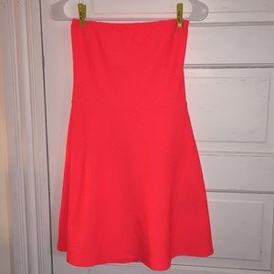 Strapless neon dress